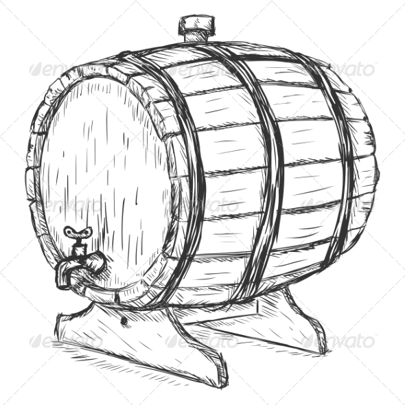 Wooden Wine Barrel - Man-made Objects Objects