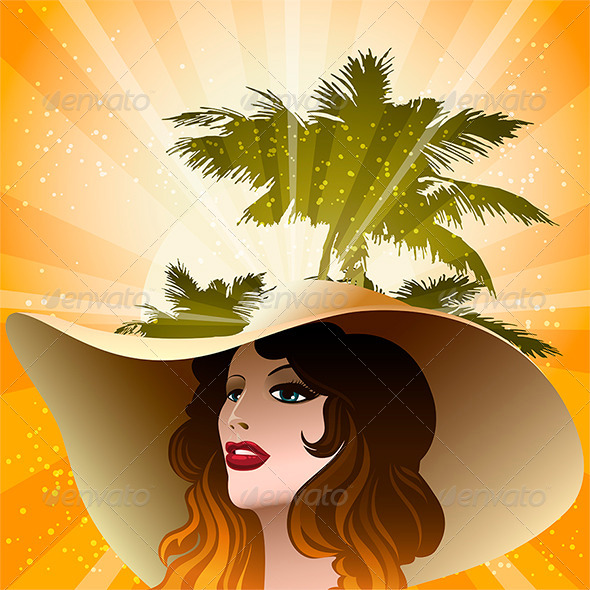 Girl in Beach Hat - Conceptual Vectors