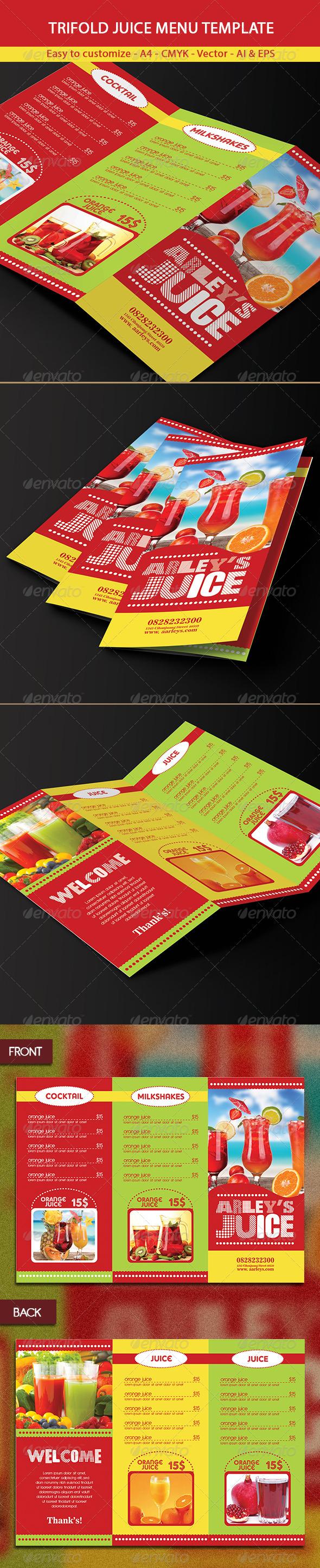 Trifold Drinks Menu Template - Food Menus Print Templates