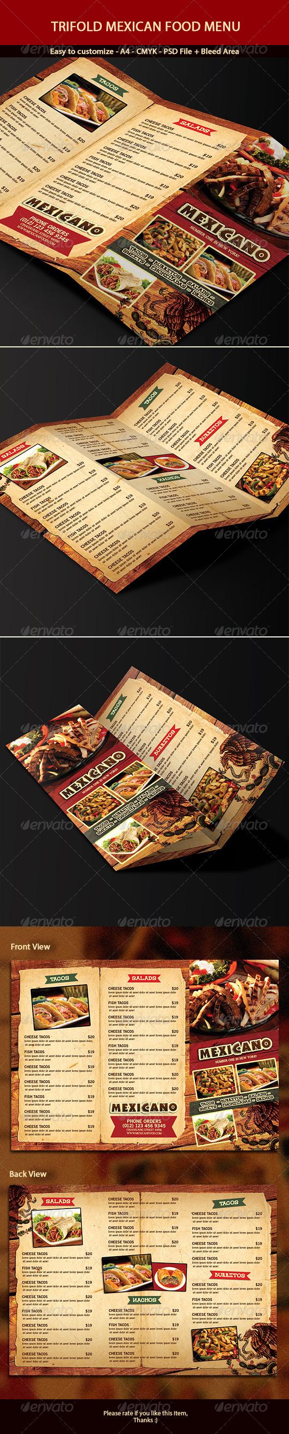 Trifold Mexican Menu - Food Menus Print Templates
