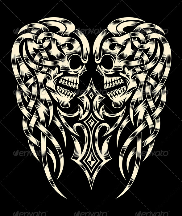 Ornate Skull With Cross - Tattoos Vectors