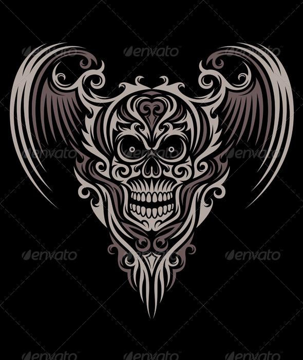 Ornate Winged Skull - Tattoos Vectors
