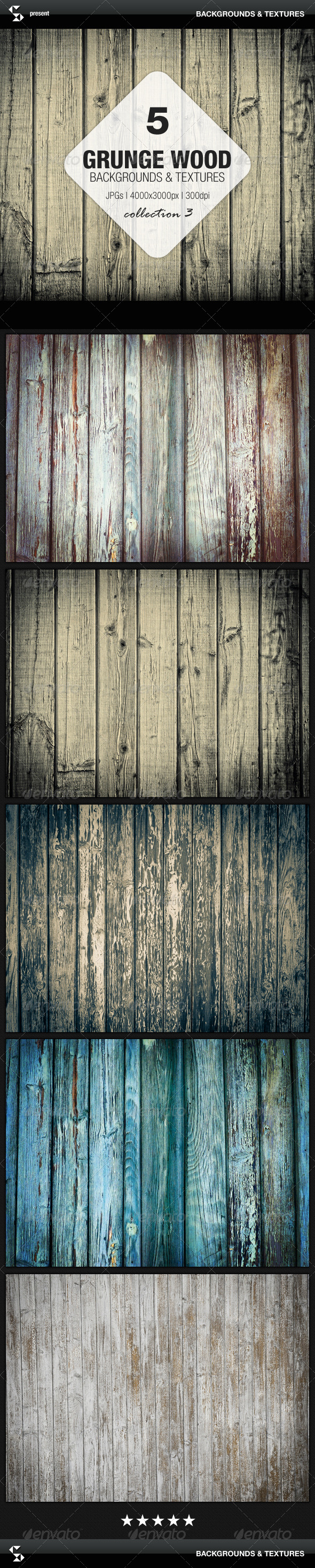 Grunge Wood Backgrounds - Collection 3 - Nature Backgrounds