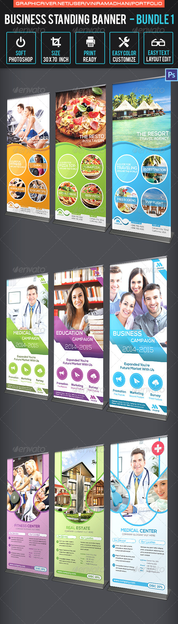 Business Standing Banner Bundle 1 - Signage Print Templates