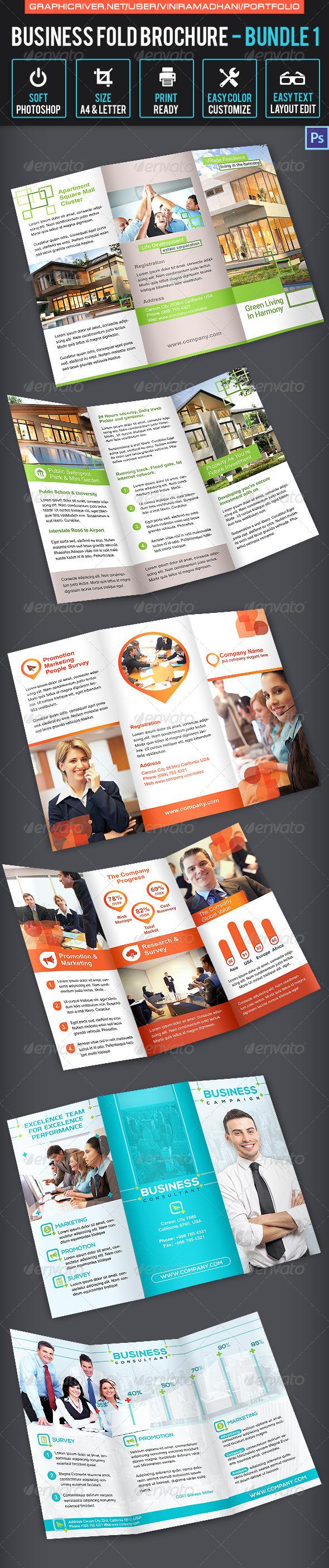 Business Trifold Brochure Bundle 1 - Corporate Brochures