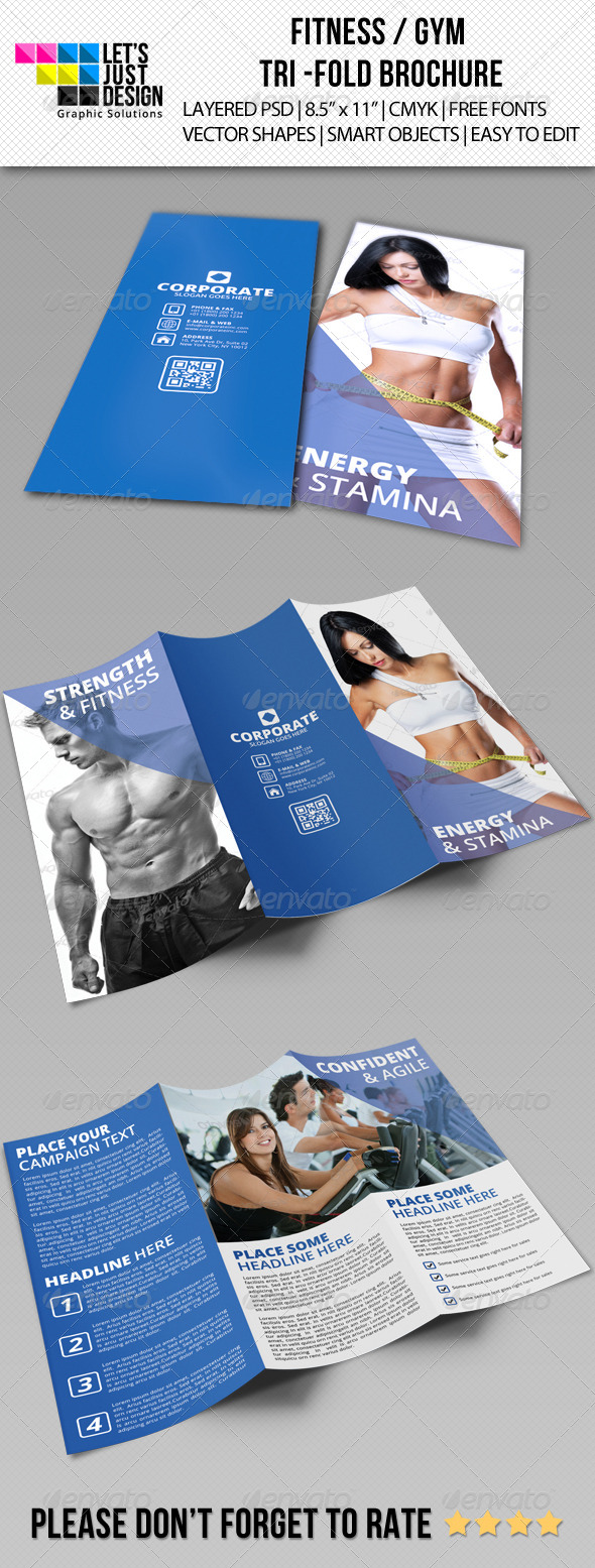 Fitness and Gym Tri-Fold Brochure - Corporate Brochures