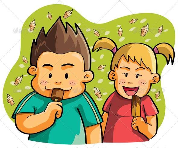 Kids Eating Ice Cream - People Characters