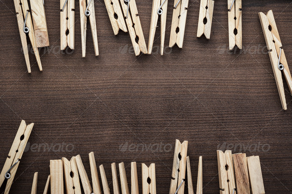 Wooden Clothes Pegs On The Table - Stock Photo - Images