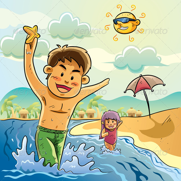 Kids Playing on The Beach - People Characters