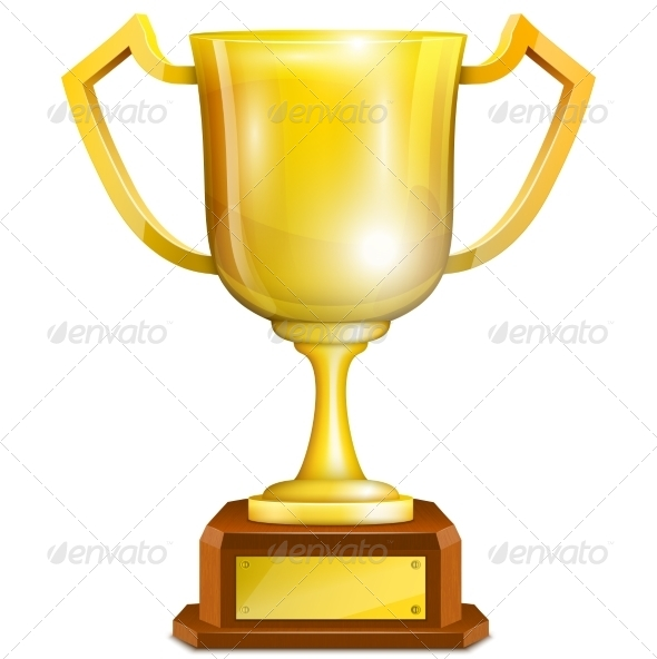 Glossy Gold Cup on Wooden Stand - Sports/Activity Conceptual