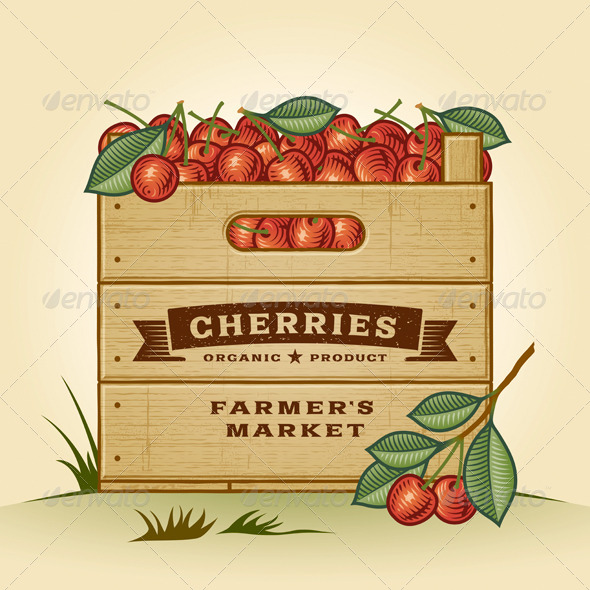 Retro Crate Of Cherries - Food Objects