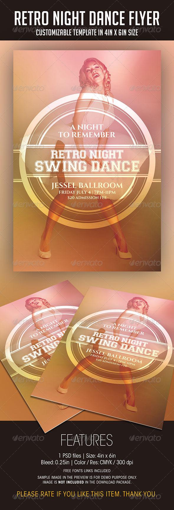 Retro Night Dance Party Flyer