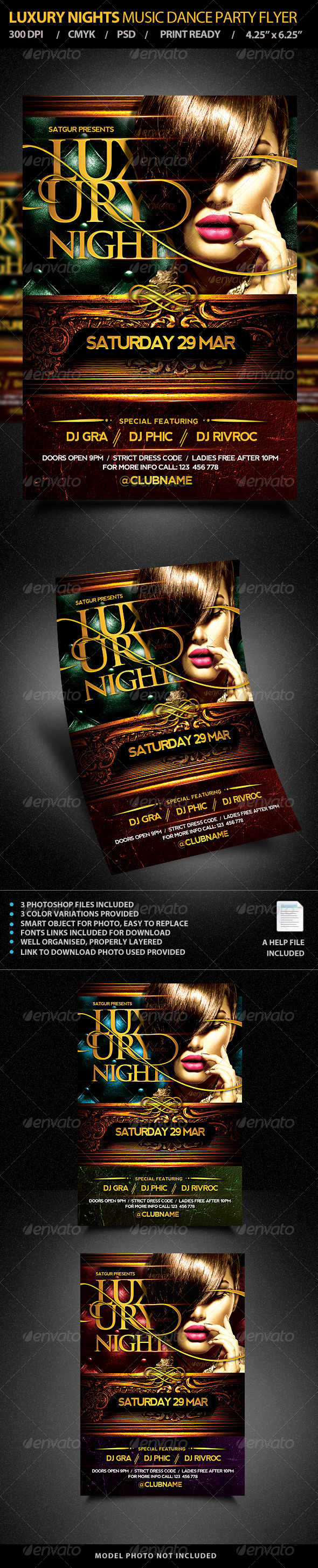 Luxury NightS Party Flyer Template PSD - Clubs & Parties Events