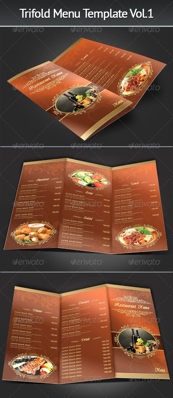Trifold Menu Template Vol.1 - Restaurant Flyers