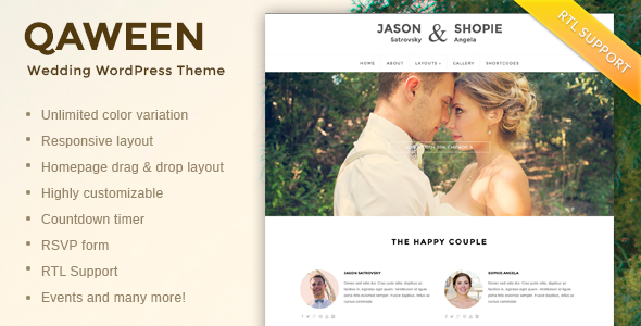 Qaween – Responsive WordPress Wedding Theme