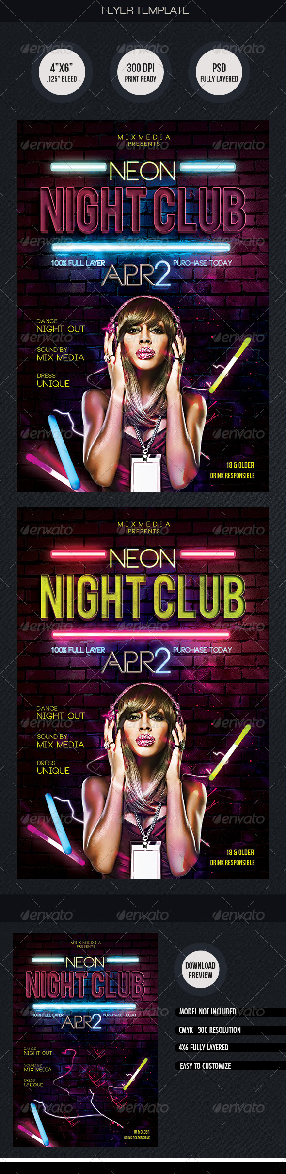 Neon Night Club Flyer Template - Clubs & Parties Events