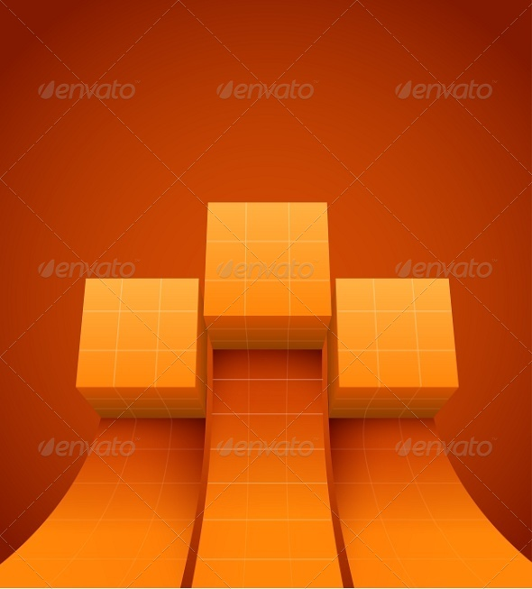 Abstract Cubes Moving Up - Web Elements Vectors