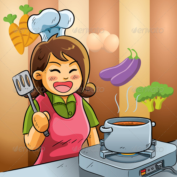 Mommy Love Cooking - People Characters