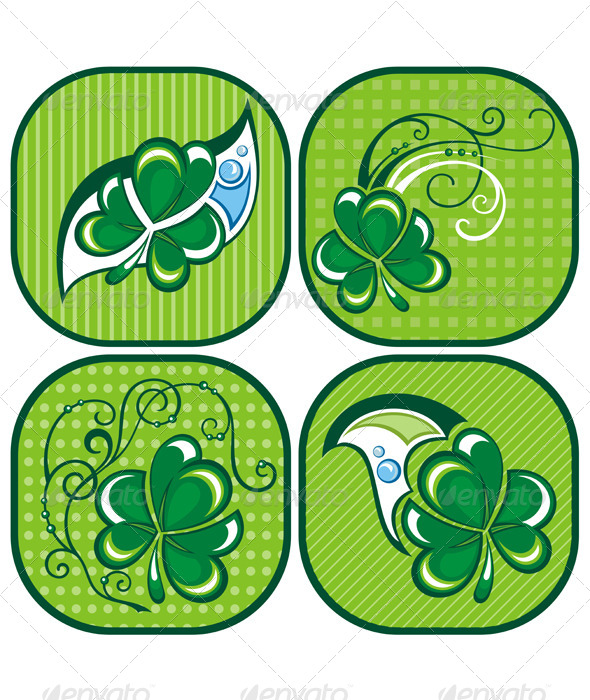 Shamrock Labels - Decorative Symbols Decorative
