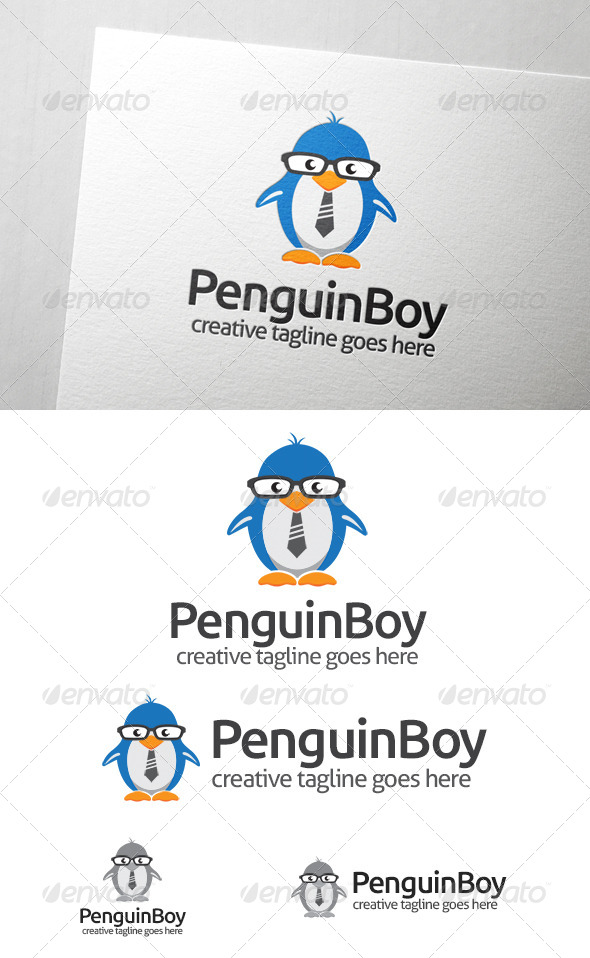 Penguin Boy Logo - Animals Logo Templates