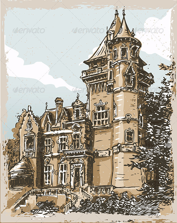 Vintage Hand Drawn Old Castle in Belgium - Buildings Objects