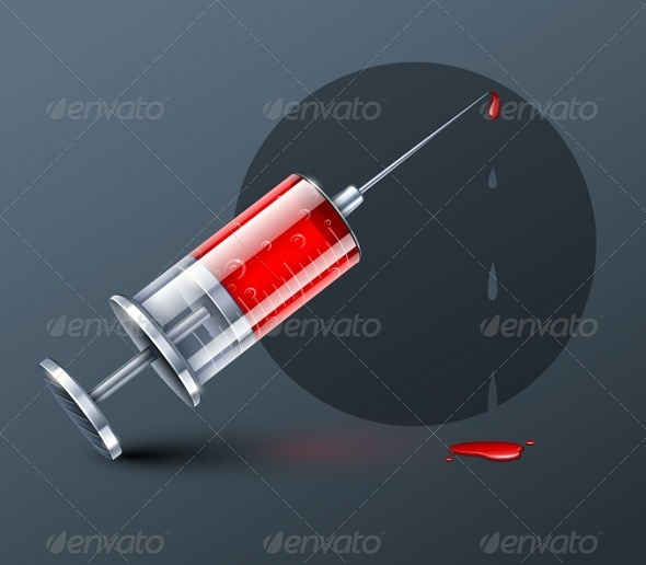 Medical Syringe with Blood Drops  - Man-made Objects Objects