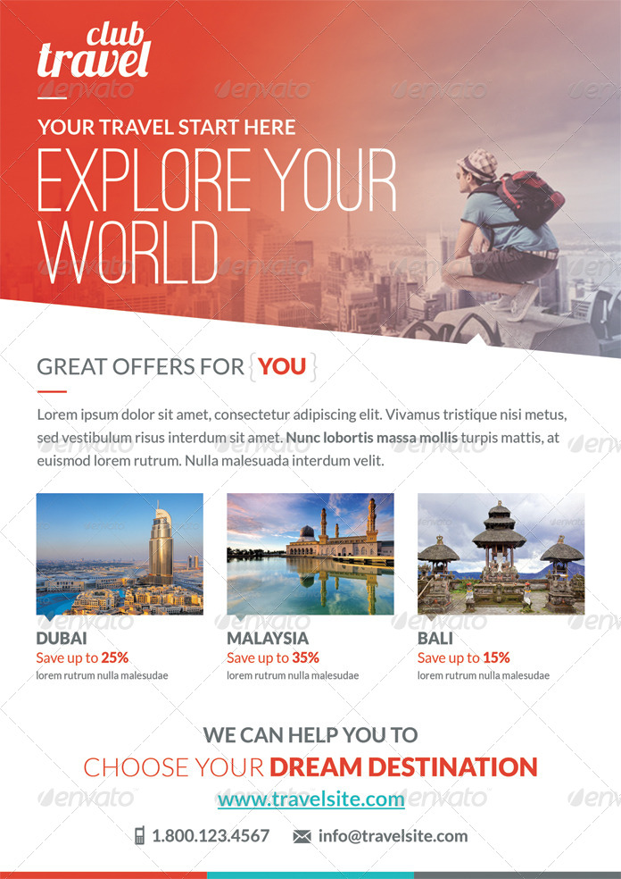 Travel  Vacation Flyer Template By Webduck  Graphicriver