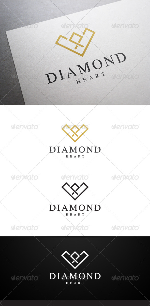 Diamond Heart Logo - Objects Logo Templates
