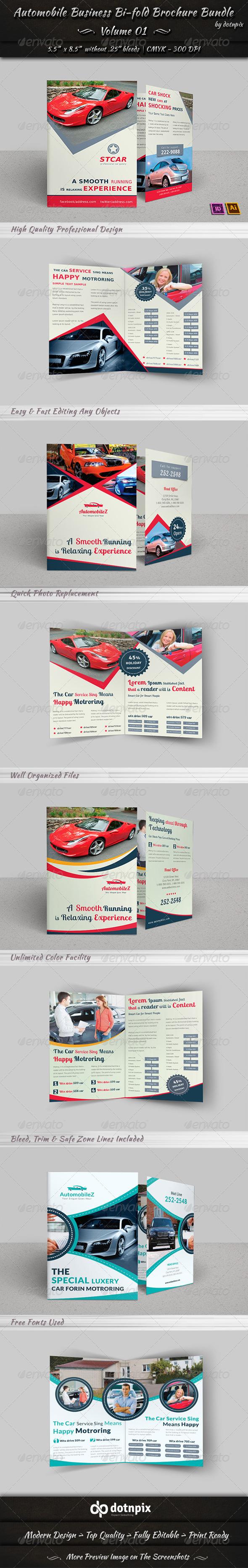 Automobile Business Bi-fold Brochure Bundle | V 1 - Corporate Brochures