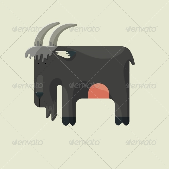 Gray Goat with Horns Standing Sideways - Animals Characters
