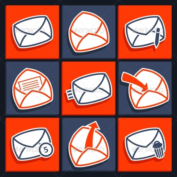 Set of Icons for App Envelopes and Message - Web Technology