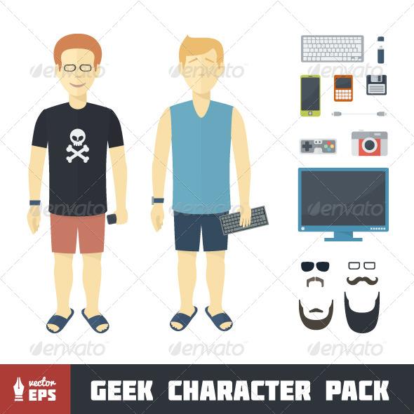 Geek Character Set - People Characters