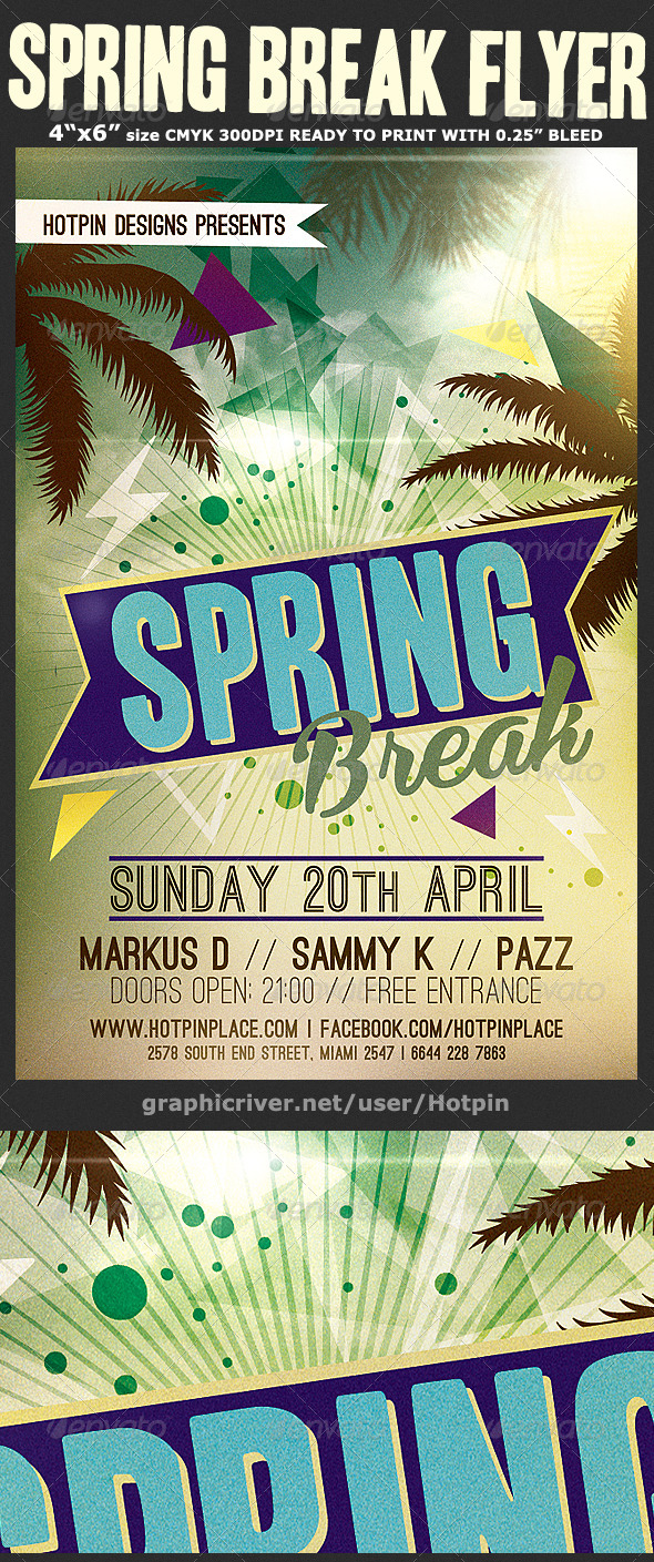 Spring Break Flyer Template v3 - Clubs & Parties Events
