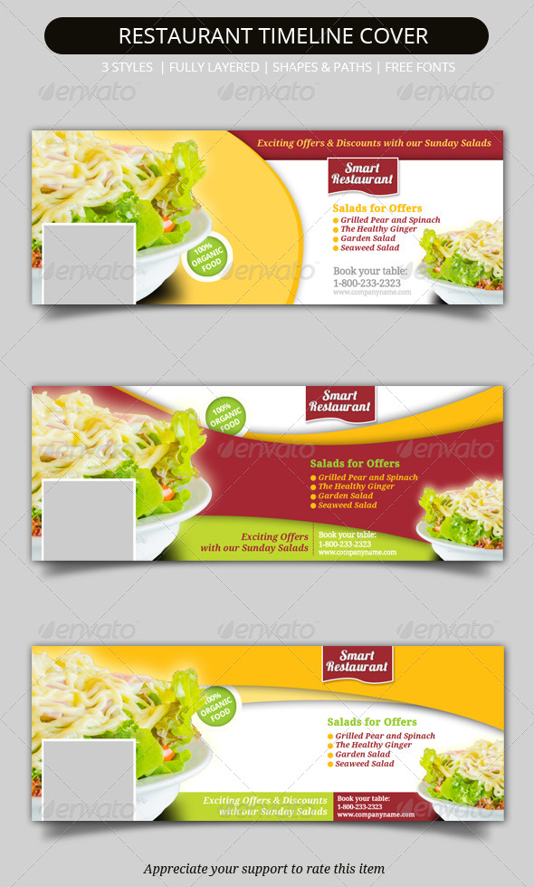 Restaurant facebook timeline covers by geon graphicriver