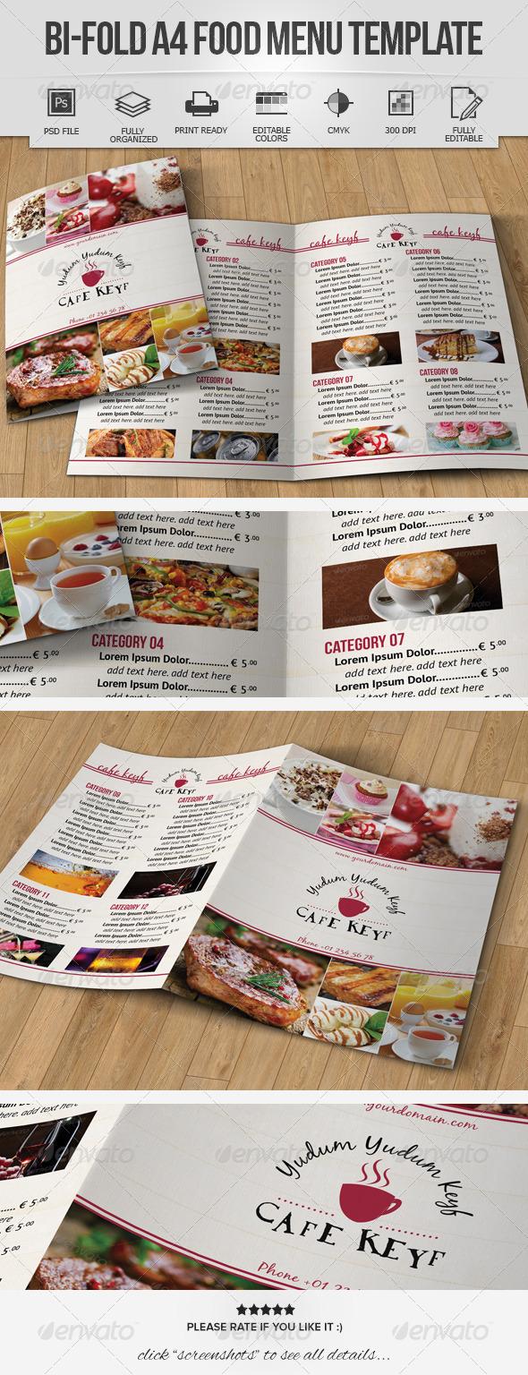 Bi-Fold A4 Food Menu Template - Food Menus Print Templates
