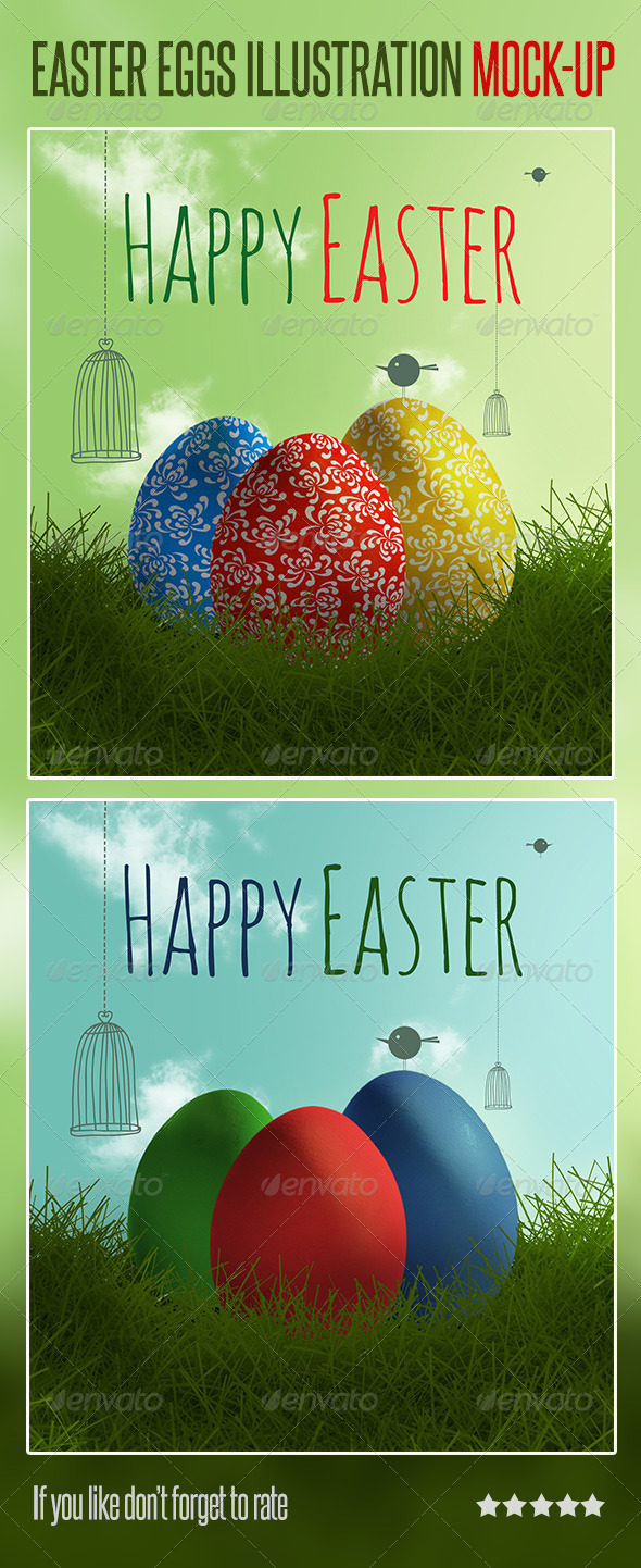 Easter Eggs Illustration Mock-up - Scenes Illustrations