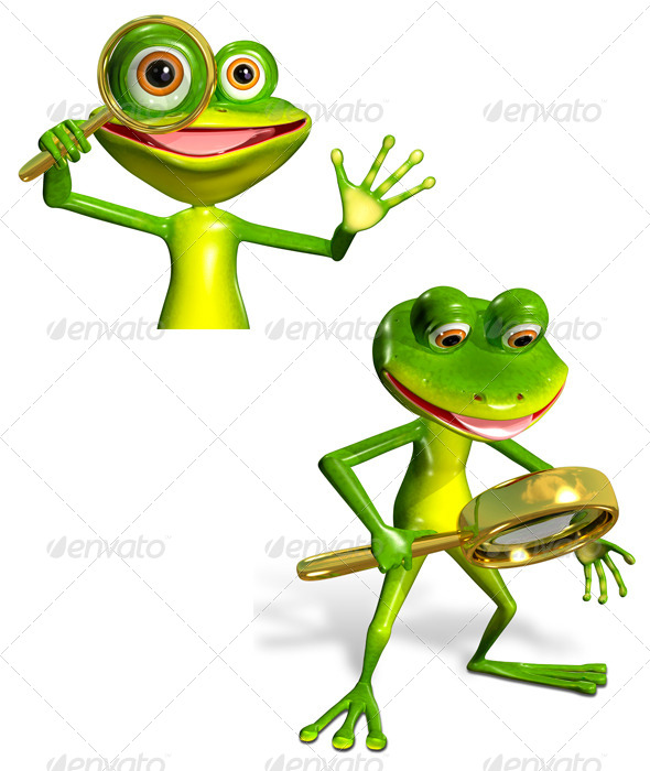 Green Frog with Magnifying Glass - Characters 3D Renders