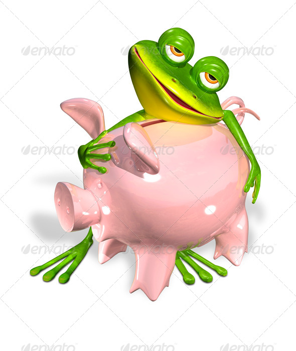Green Frog with Piggy Bank - Characters 3D Renders