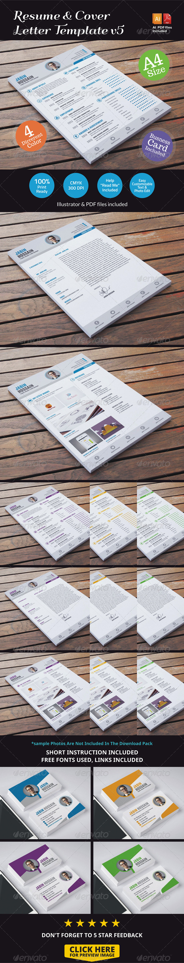 Resume & Cover Letter Template v5 - Resumes Stationery