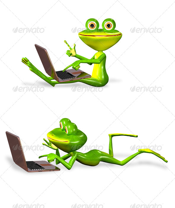 green frog with notebook - Characters 3D Renders