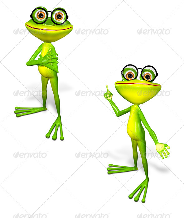 green frog in the glasses - Characters 3D Renders