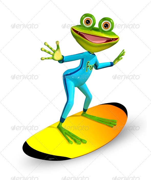green frog on a surfboard - Characters 3D Renders