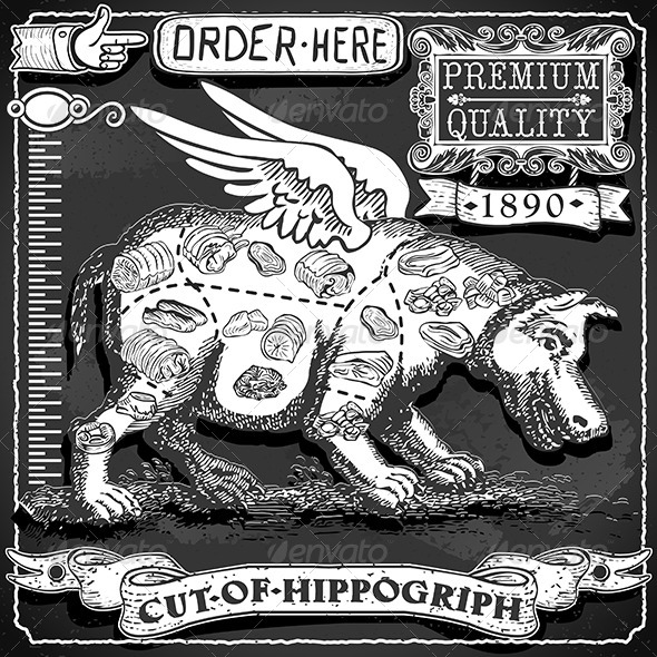 Vintage Blackboard of Cut of Hippogriph - Food Objects