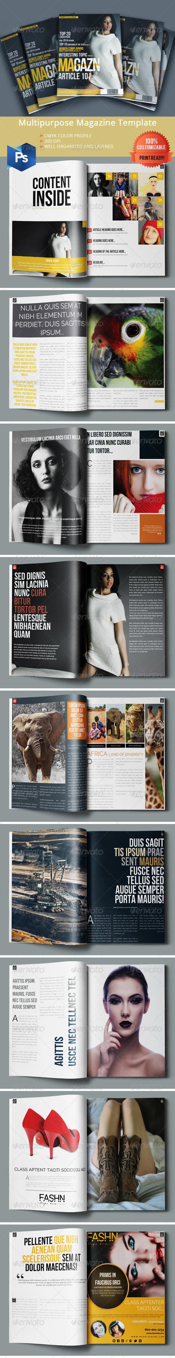 Multipurpose Magazine Template - Photoshop PSD - Magazines Print Templates