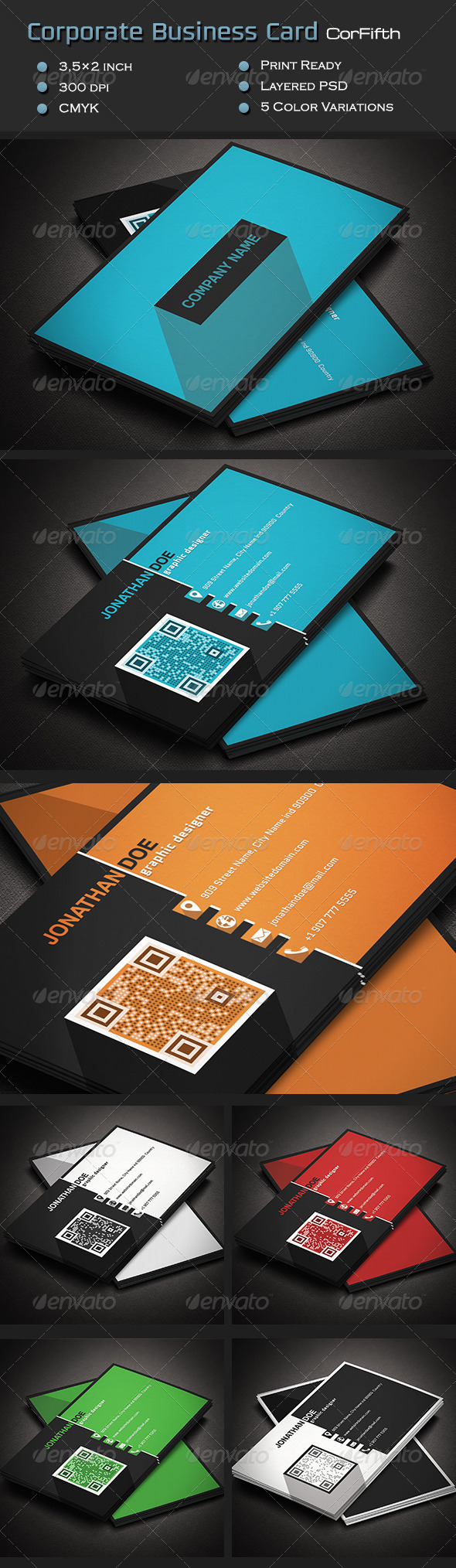 Corporate Business Card CorFifth - Corporate Business Cards
