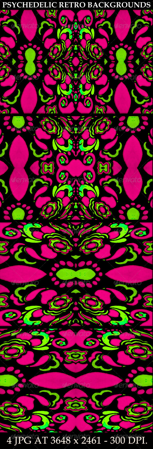 4 Psychedelic Retro Ornament Backgrounds - Flourishes / Swirls Decorative