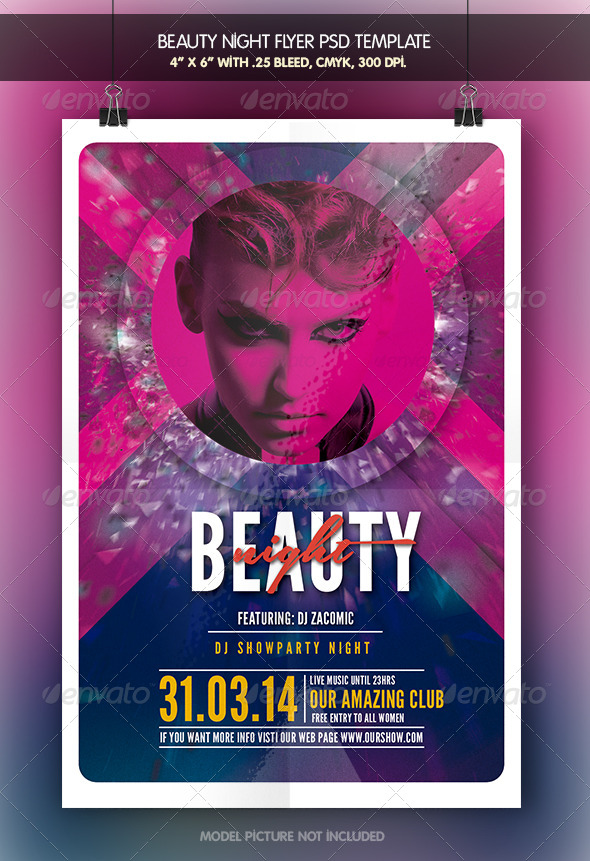 Beauty Night | Flyer Template - Clubs & Parties Events