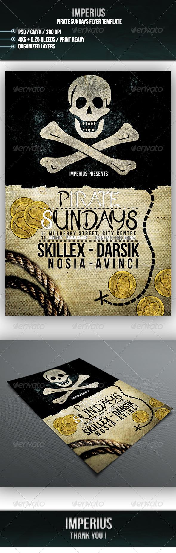 Pirate Sundays Flyer - Flyers Print Templates