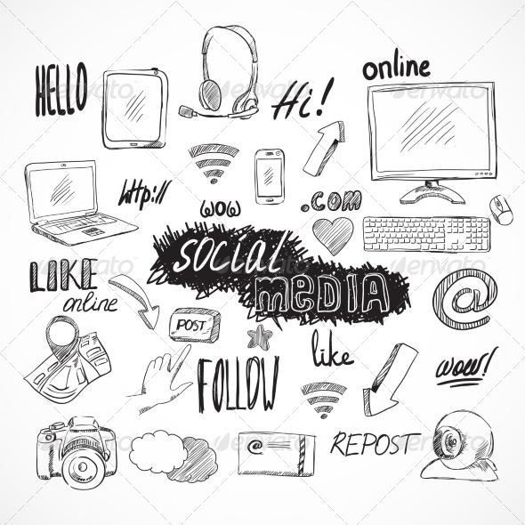 Doodle Social Media Icons Set - Web Elements Vectors