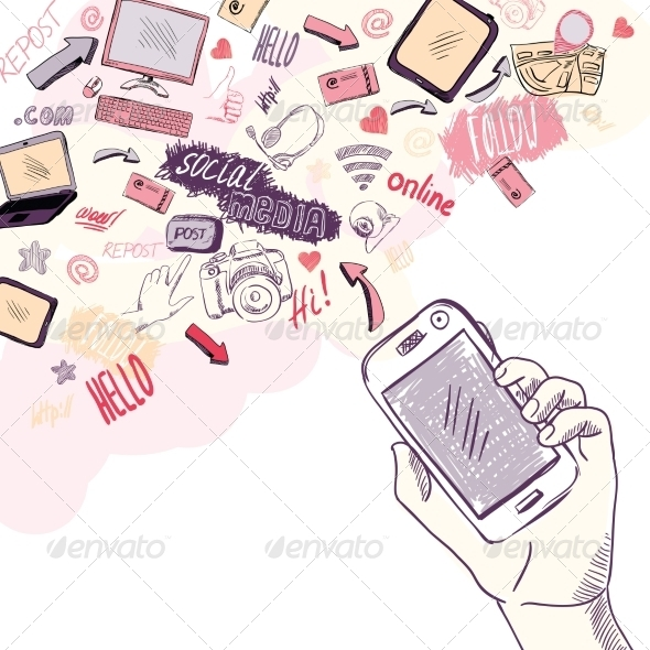 Hand Holding Mobile Phone with Social Media Icons - Computers Technology